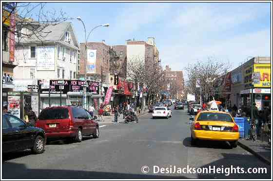 View of 74th St in Jackson Heights from Roosevelt Avenue